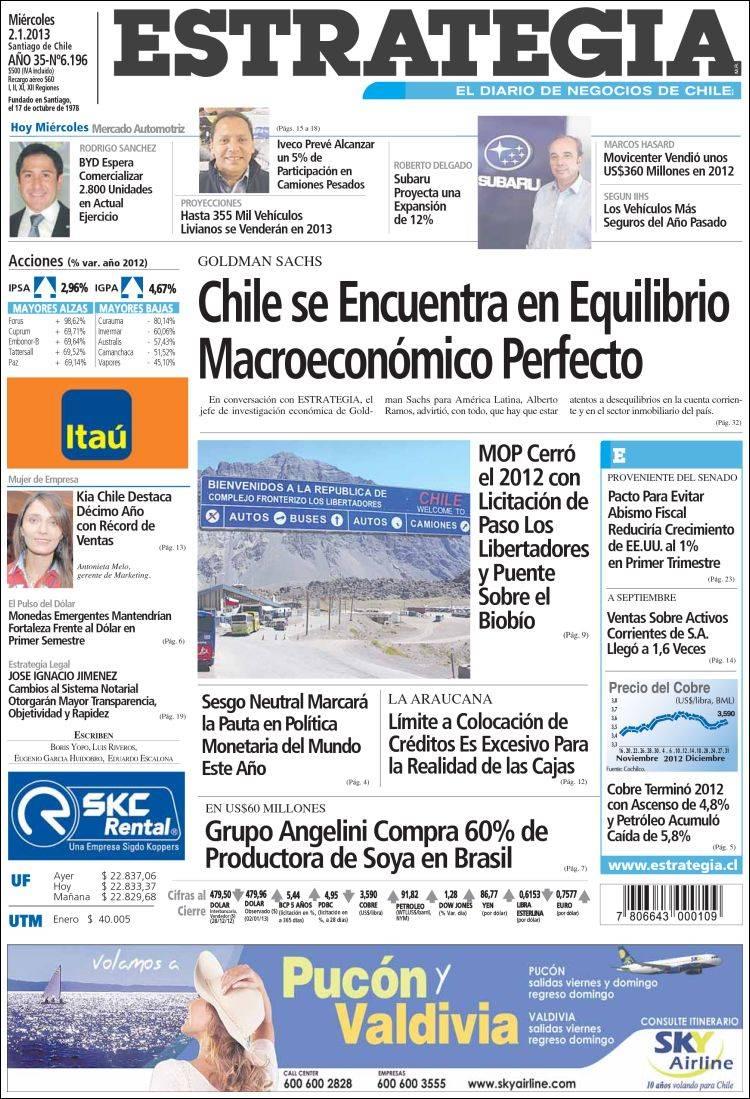 Portada de Estrategia (Chile)
