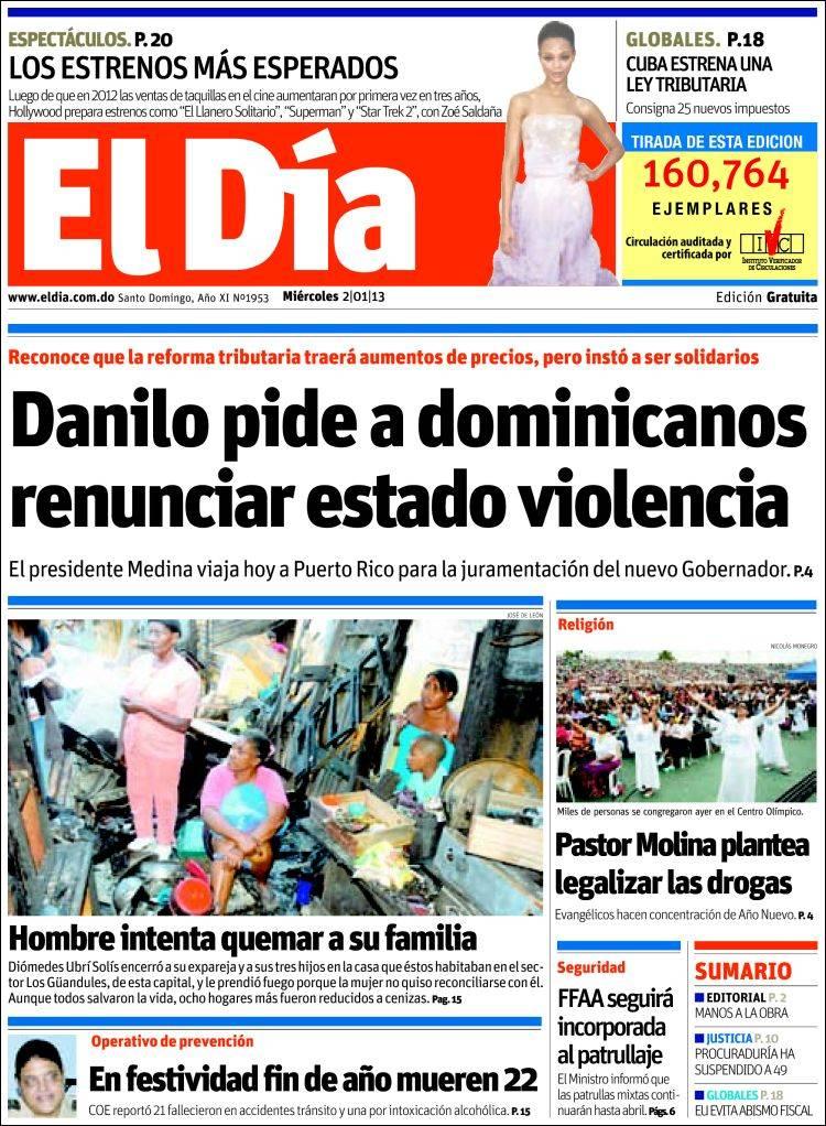 Portada de El Día (R. Dominicana)