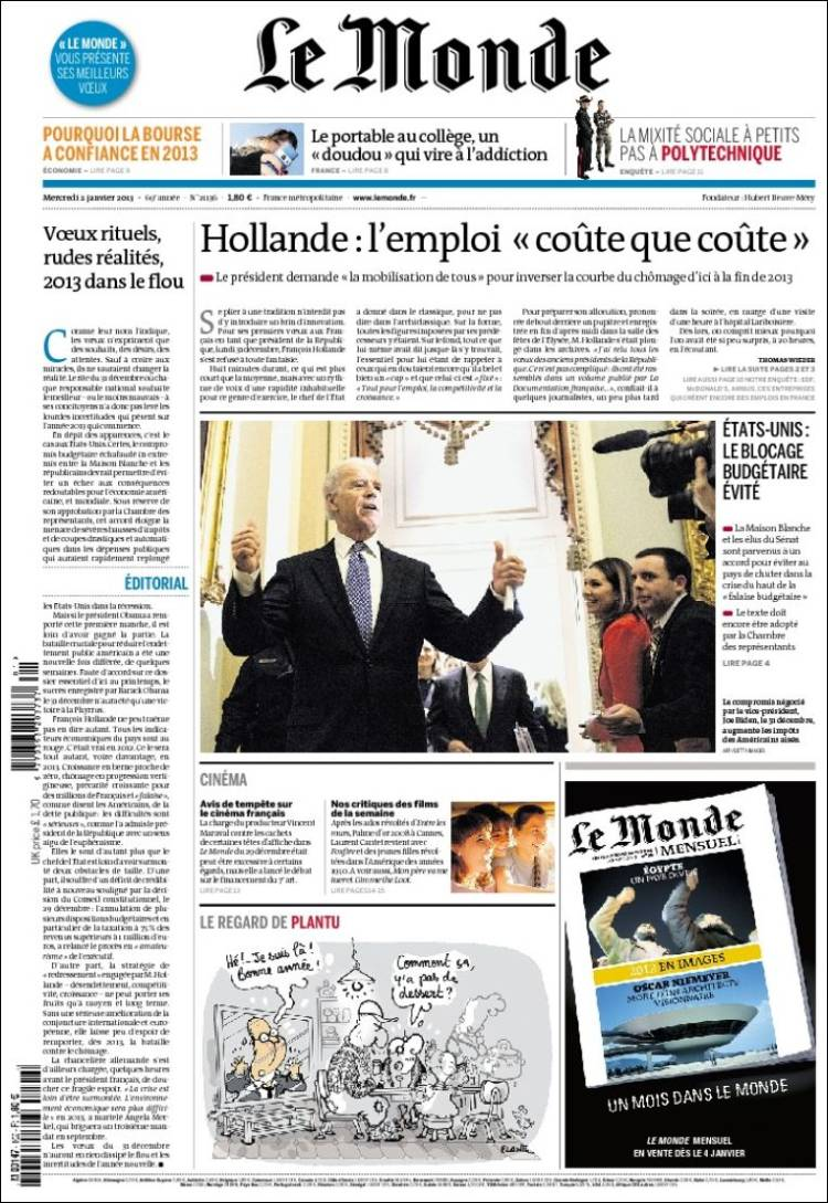 Portada de Le Monde (Francia)