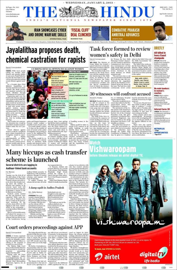 Portada de The Hindu (India)
