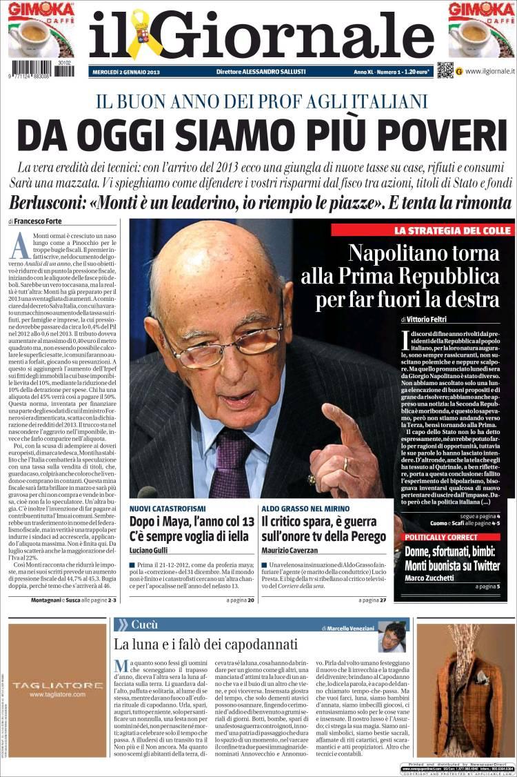 Portada de il Giornale (Italia)