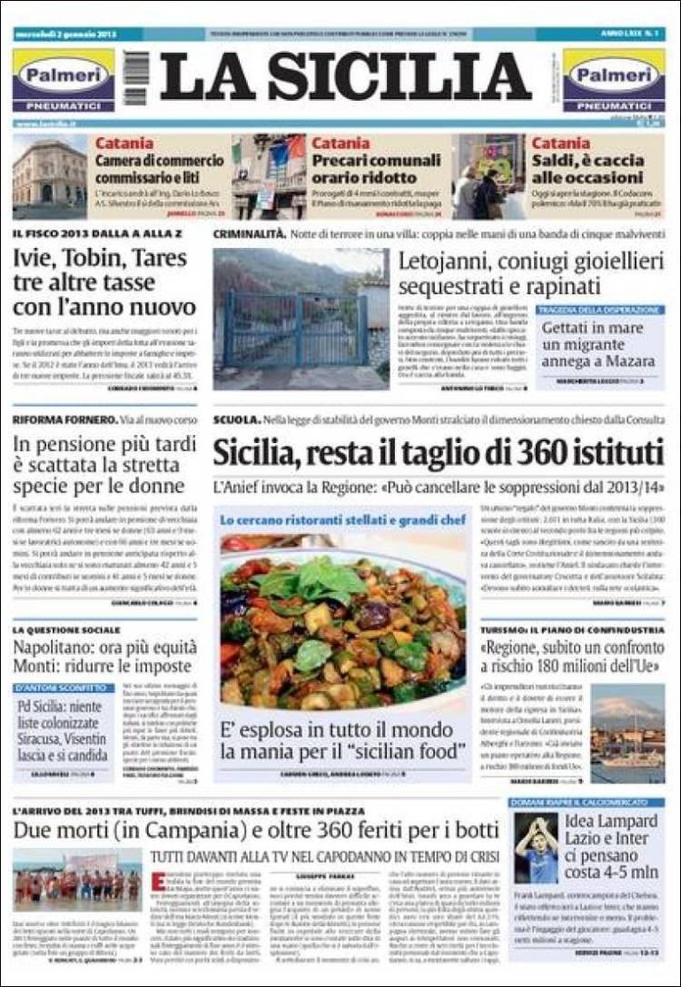 Portada de La Sicilia (Italia)