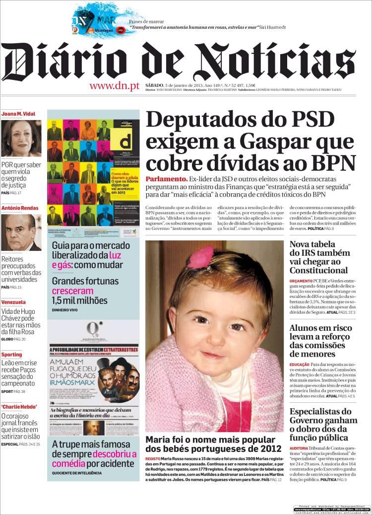 Peri dico di rio de noticias portugal peri dicos de for Noticias del espectaculo del dia de hoy