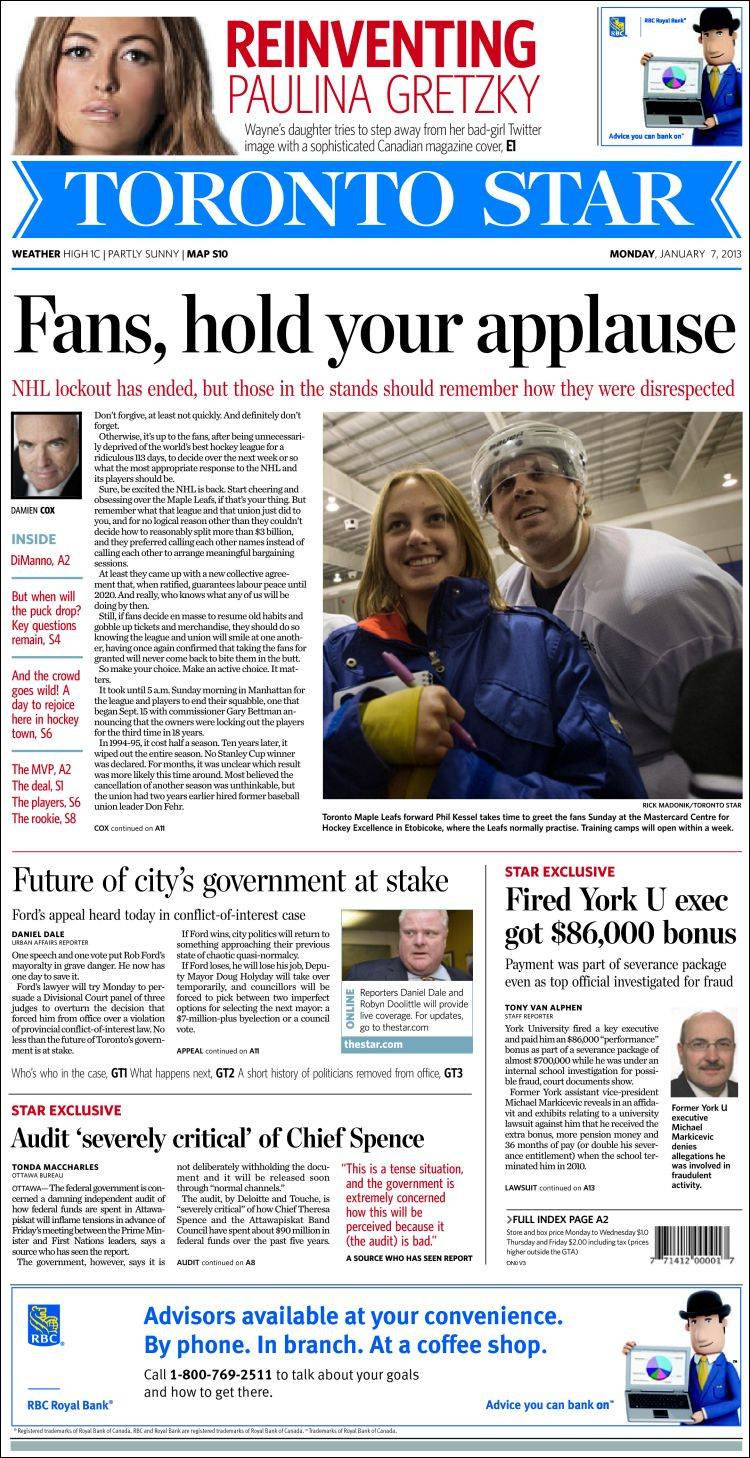 the news and newspapers in toronto Toronto star epaper welcome to toronto star epaper now you can read toronto star epaper anytime, anywhere toronto star epaper is available to you at home or at work, and is the same edition as the printed copy available at the newsstand.