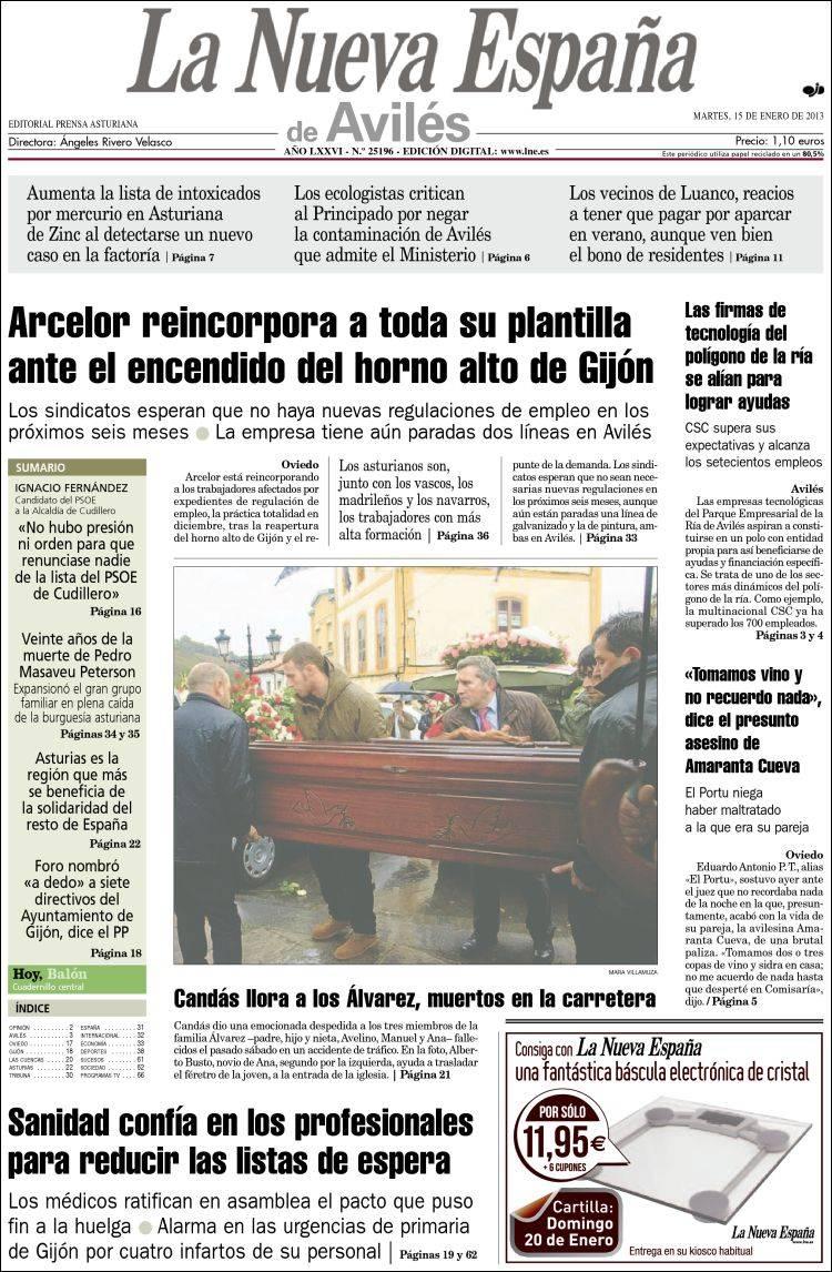 Periódico La Nueva España - Avilés (España). Periódicos de España ...