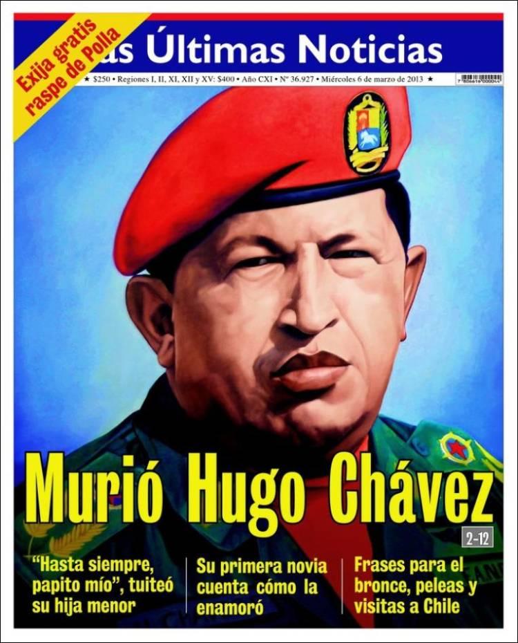 La muerte de hugo ch vez en las portadas clases de for Ultimas noticias del espectaculo internacional