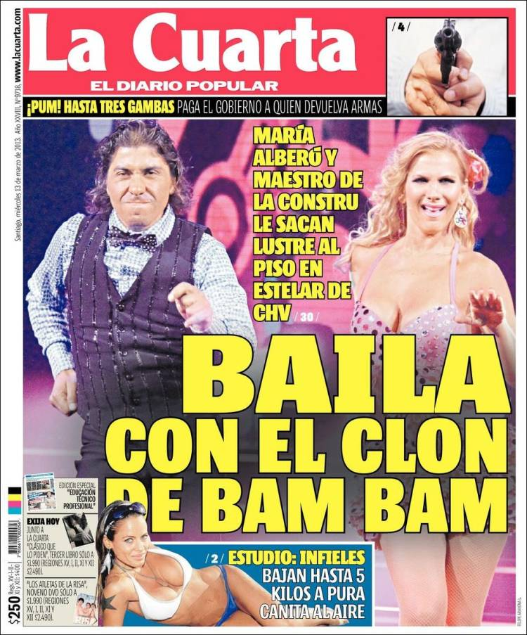 Newspaper La Cuarta (Chile). Newspapers in Chile. Thursday\'s edition ...