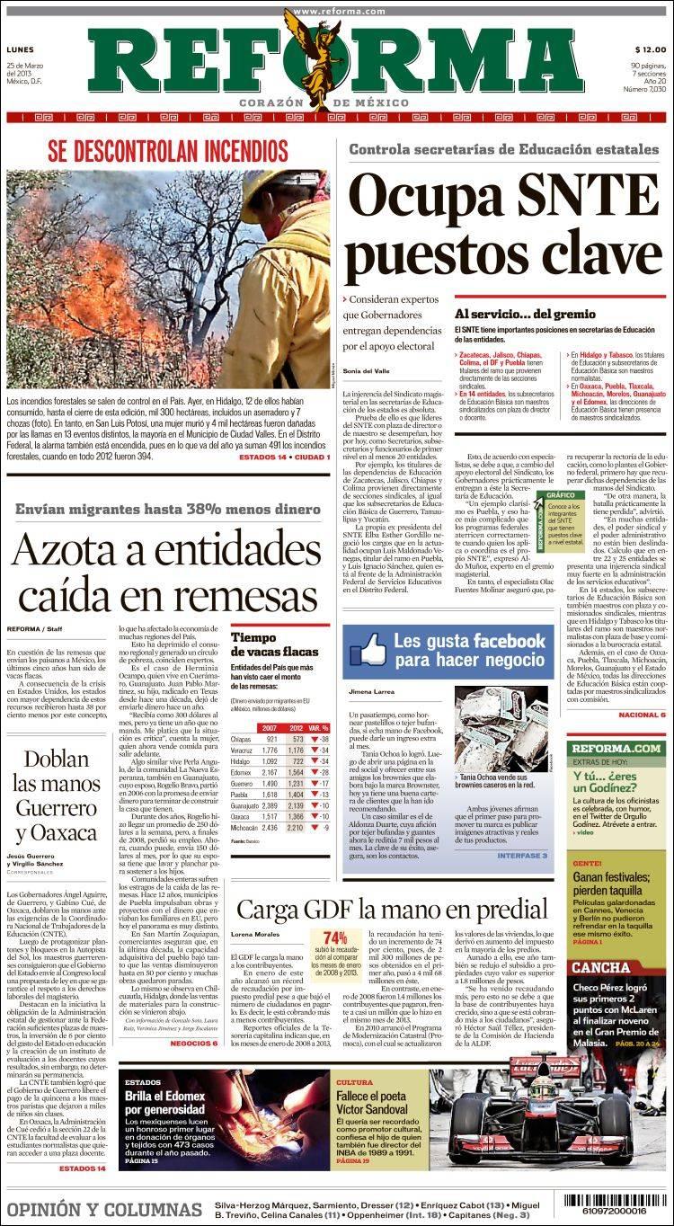 Peri dico reforma m xico peri dicos de m xico edici n de lunes 25 de marzo de 2013 - Puerta de madrid periodico ...