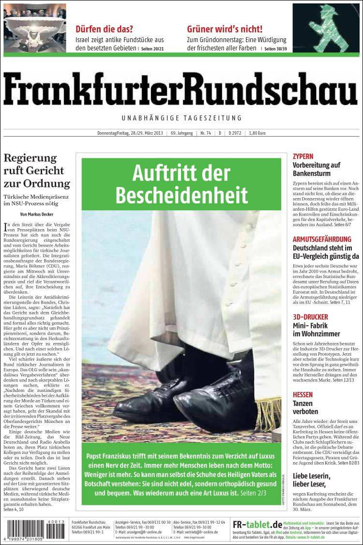 Portada de Frankfurter Rundschau (Alemania)