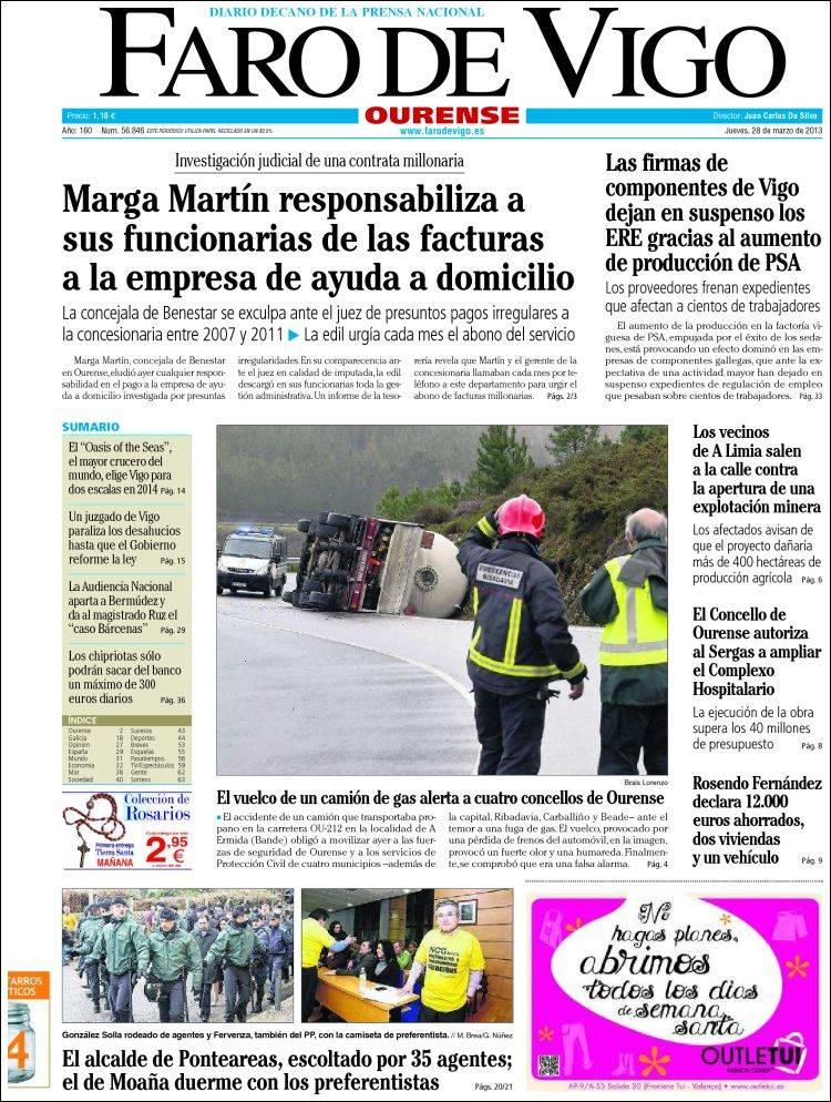 Portada de El Faro de Vigo - Ourense (España)