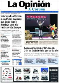 Portada de La Opinión de A Coruña (España)