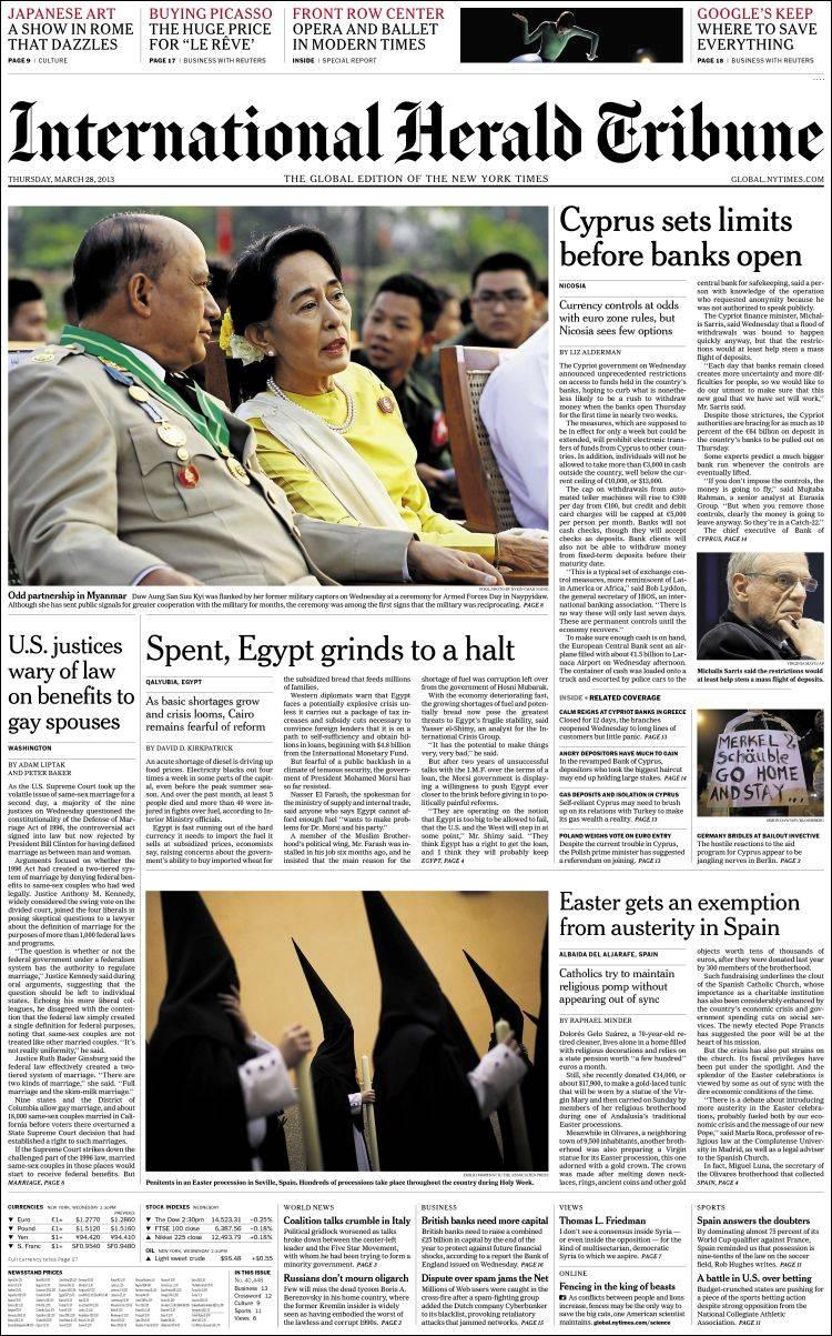 Portada de International Herald Tribune (Europa)