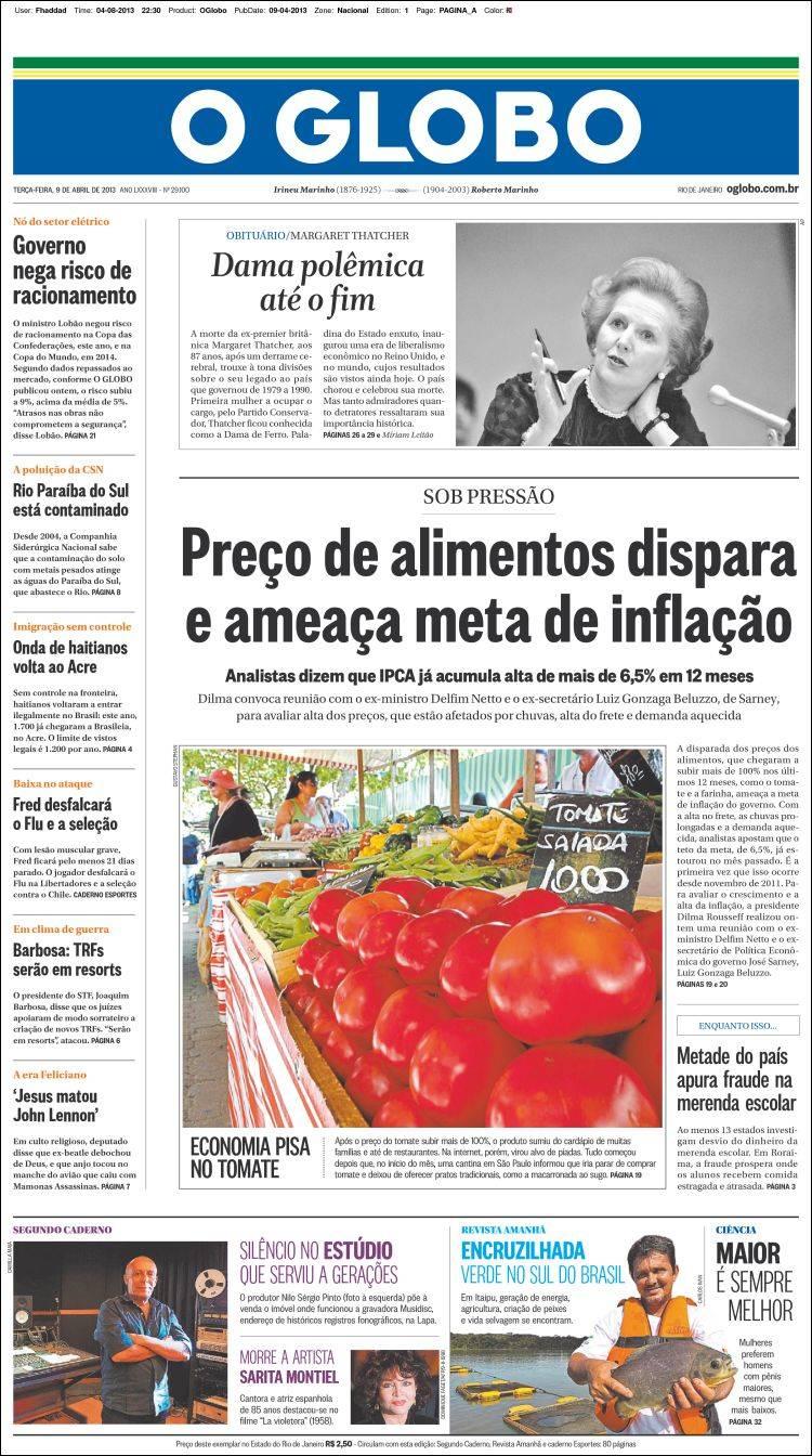 Newspaper o globo brasil newspapers in brasil tuesday 39 s edition april 9 of 2013 - Oglo o ...