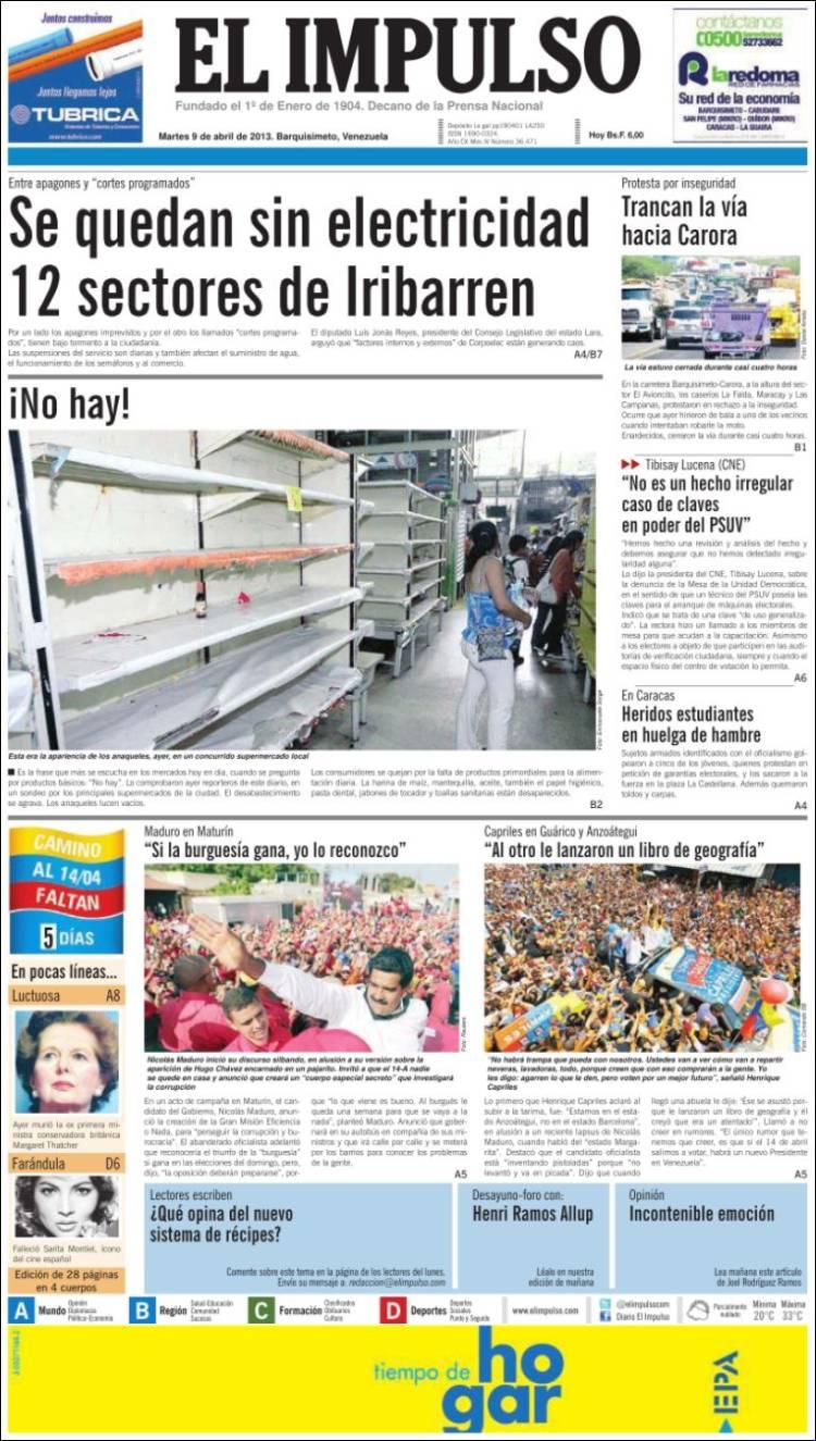 Portada de El Impulso (Venezuela)