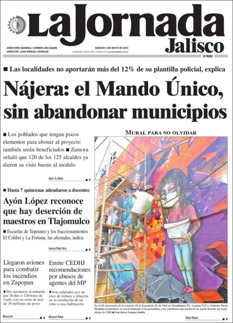 Portada de La Jornada de Jalisco (México)