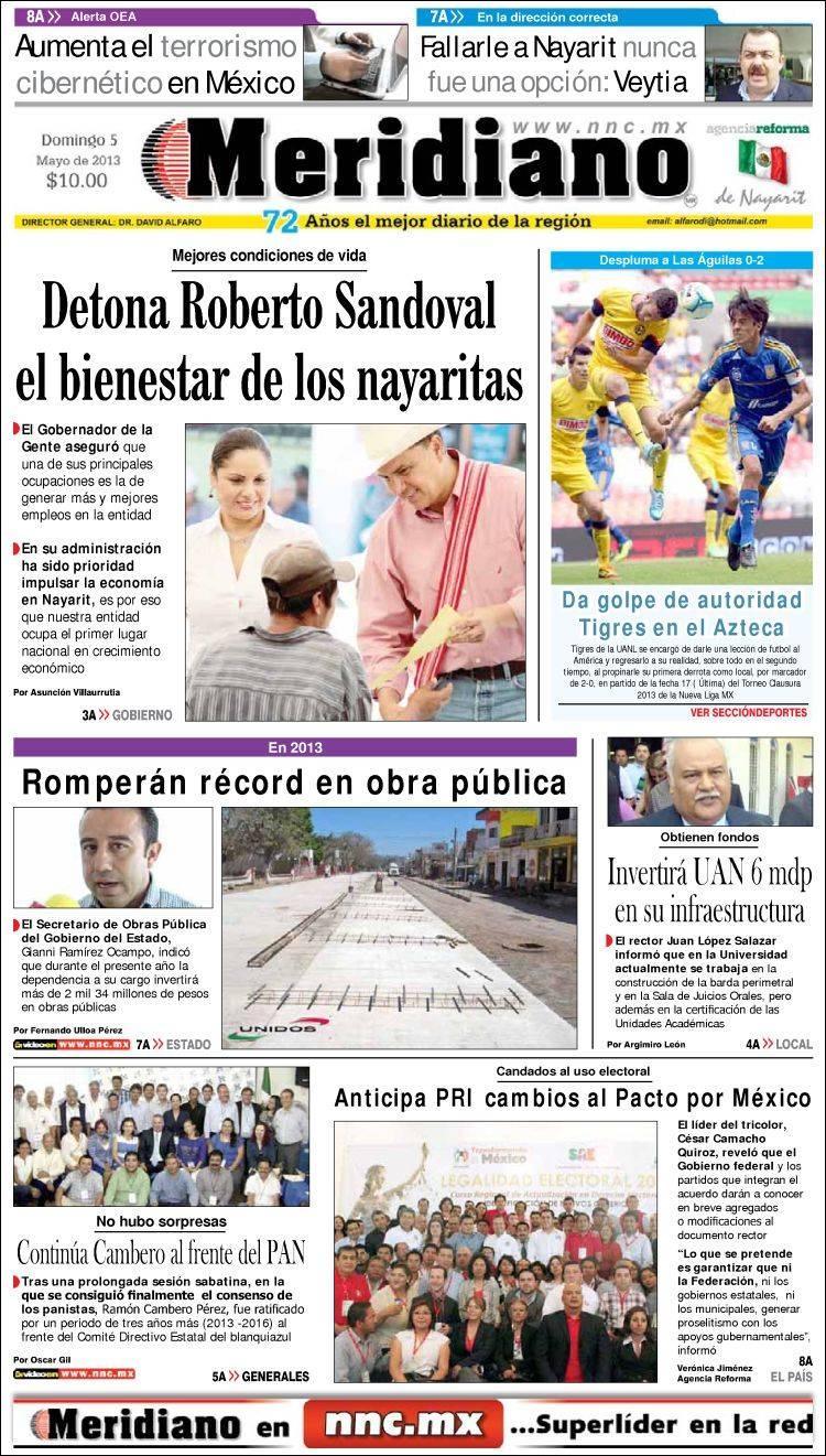 Portada de Meridiano de Nayarit (Mexico)