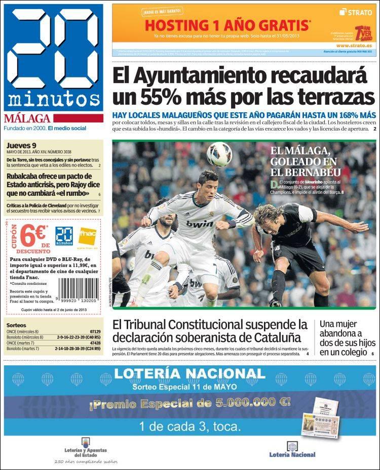Periódico 20 Minutos Malaga España Periódicos De España