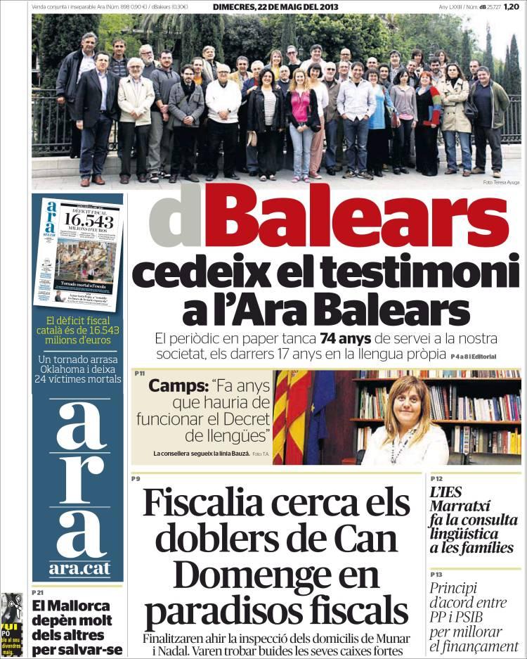 Portada de Diari Balears (España)