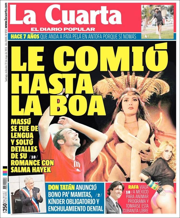 Periódico La Cuarta (Chile). Periódicos de Chile. Edición de jueves ...
