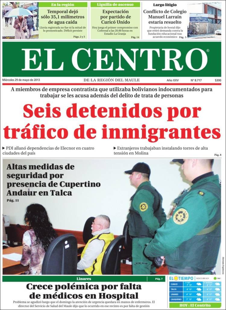 Portada de Diario el Centro (Chile)