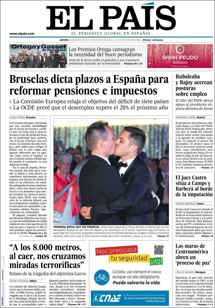 Peri dico el pa s espa a peri dicos de espa a edici n de jueves 30 de mayo de 2013 - Puerta de madrid periodico ...