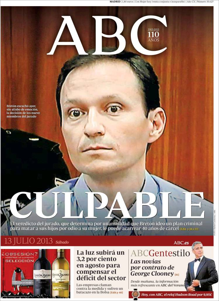 Peridico ABC Espaa Peridicos De Espaa Edicin De Sbado 13