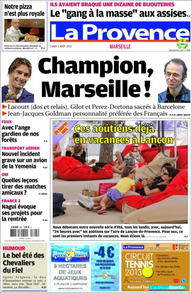 Journal la provence france les unes des journaux de france dition du lun - Le journal de provence ...