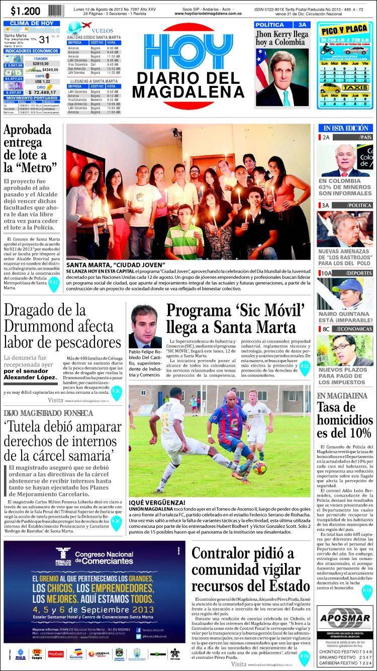 Portada de Hoy Diario del Magdalena (Colombia)