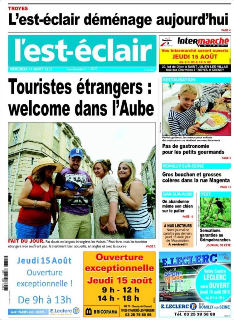 journal l u0026 39 est eclair  france   les unes des journaux de france   u00c9dition du mercredi  14 de ao u00fbt