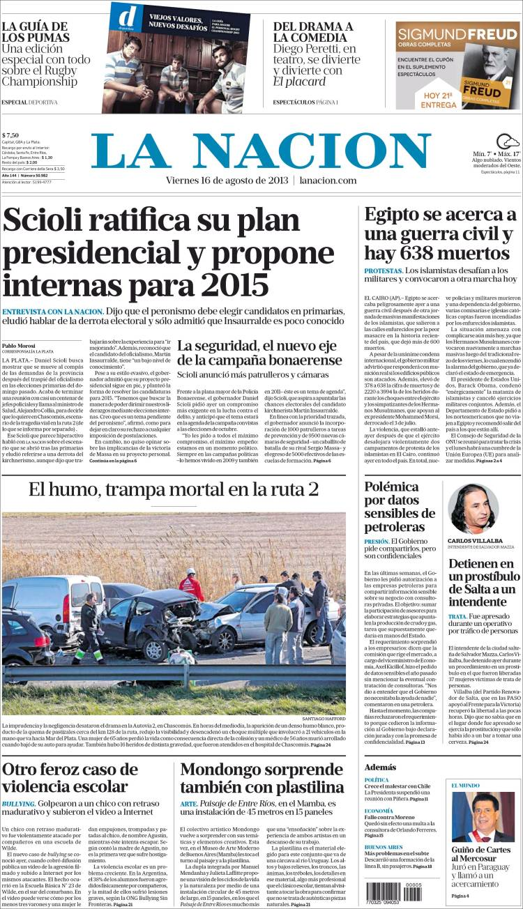 Tapas principales diarios argentinos 16 08 2013 taringa for Chimentos de hoy en argentina