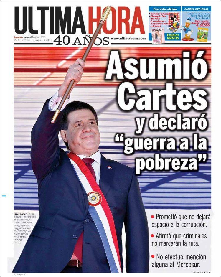 Peri dico ltima hora paraguay peri dicos de paraguay for Noticias de espectaculos de ultima hora