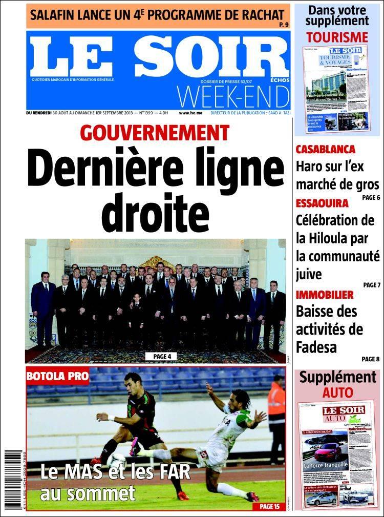 journal le soir echos maroc les unes des journaux de maroc toute la presse d 39 aujourd 39 hui. Black Bedroom Furniture Sets. Home Design Ideas