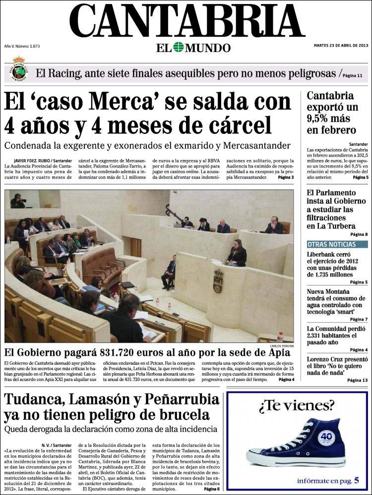 Portada de Cantabria - El Mundo (España)