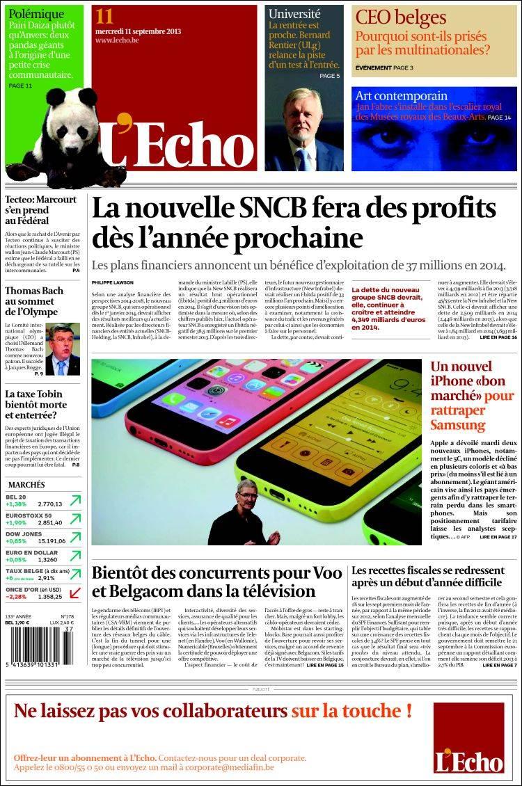 Newspaper L Echo Belgium Newspapers In Belgium