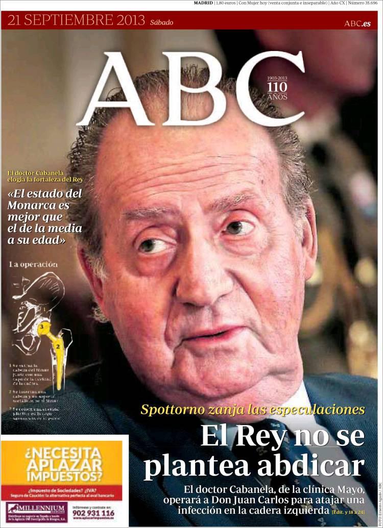 Peridico ABC Espaa Peridicos De Espaa Edicin De Sbado 21