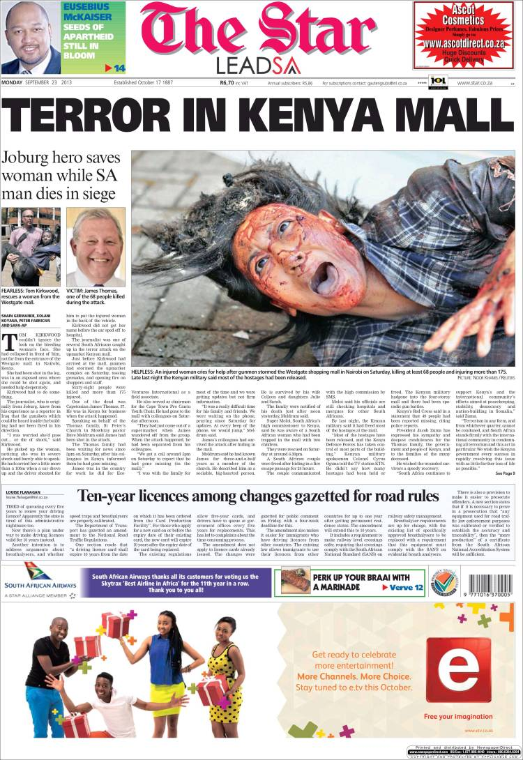 Newspaper The Star (South Africa). Newspapers in South Africa ...