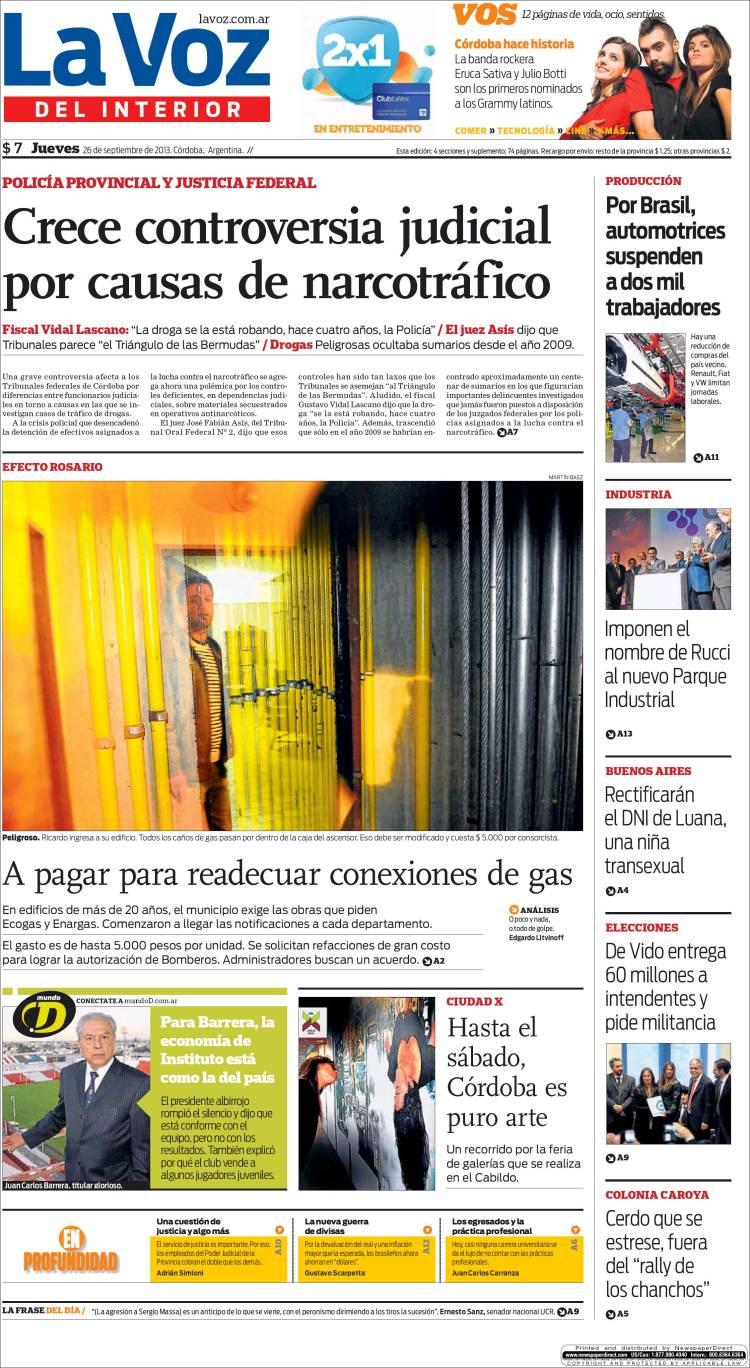 Peri dico la voz del interior argentina peri dicos de argentina edici n de jueves 26 de - La voz del interior ...