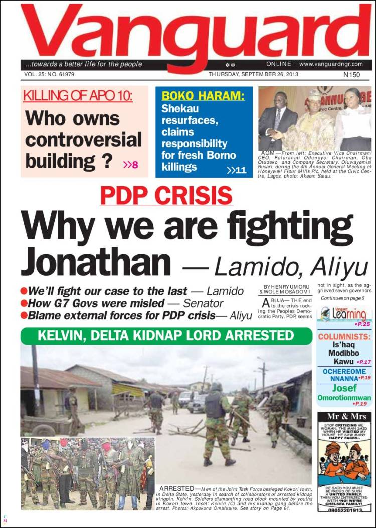 Newspaper Vanguard (Nigeria). Newspapers in Nigeria ...