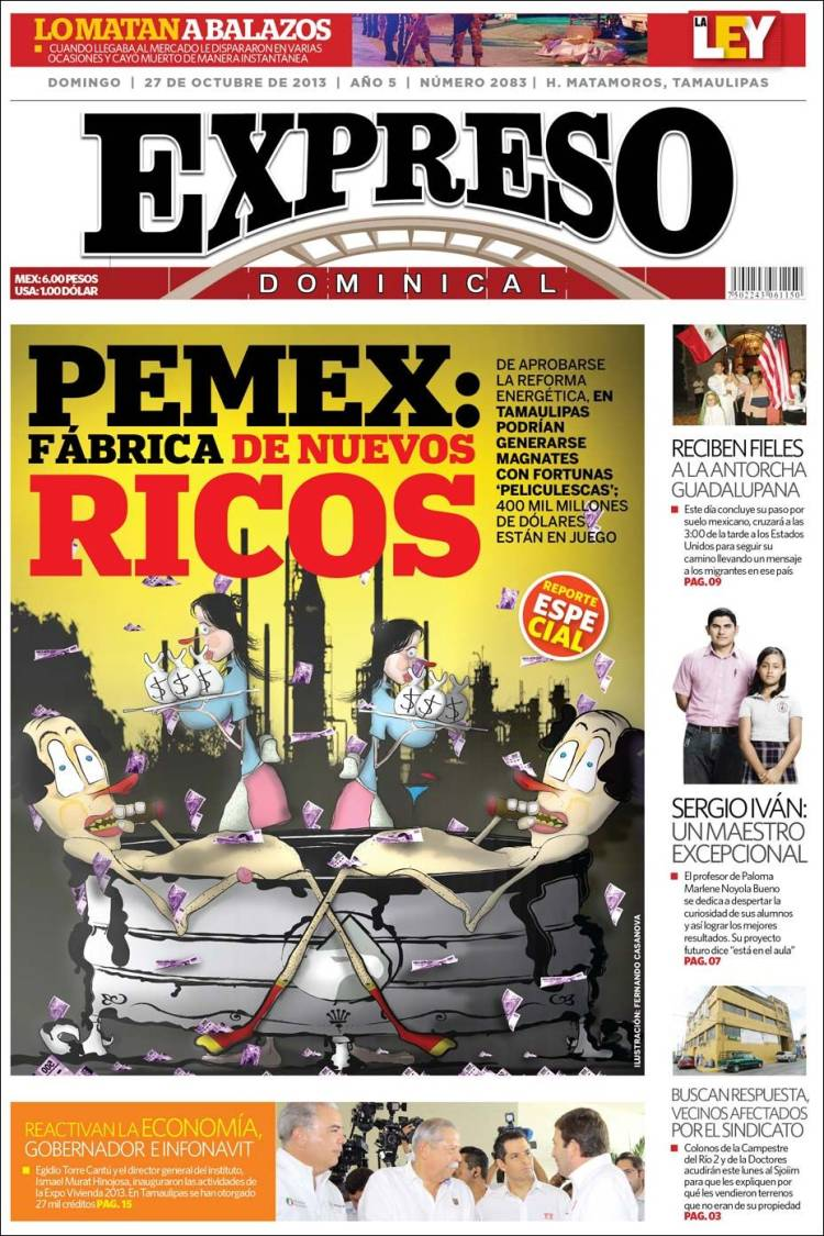 Portada de Expreso de Matamoros (México)