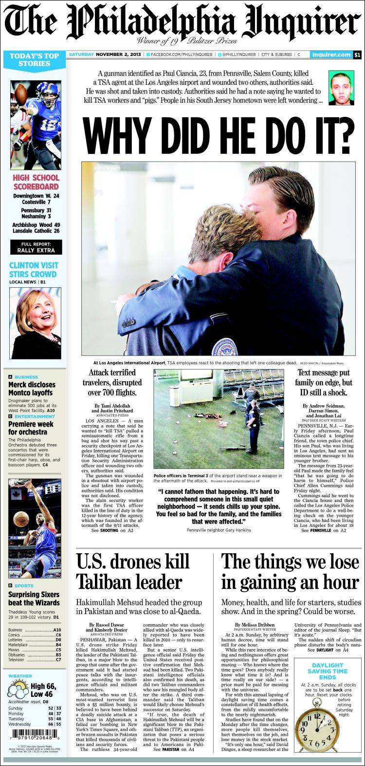 Newspaper Philadelphia Inquirer (USA)  Newspapers in USA  Saturday's