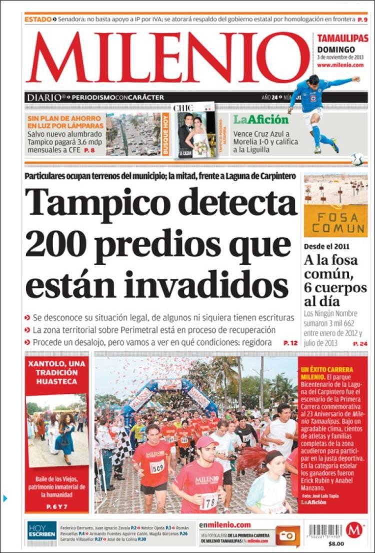 Portada de Milenio - Tampico (México)