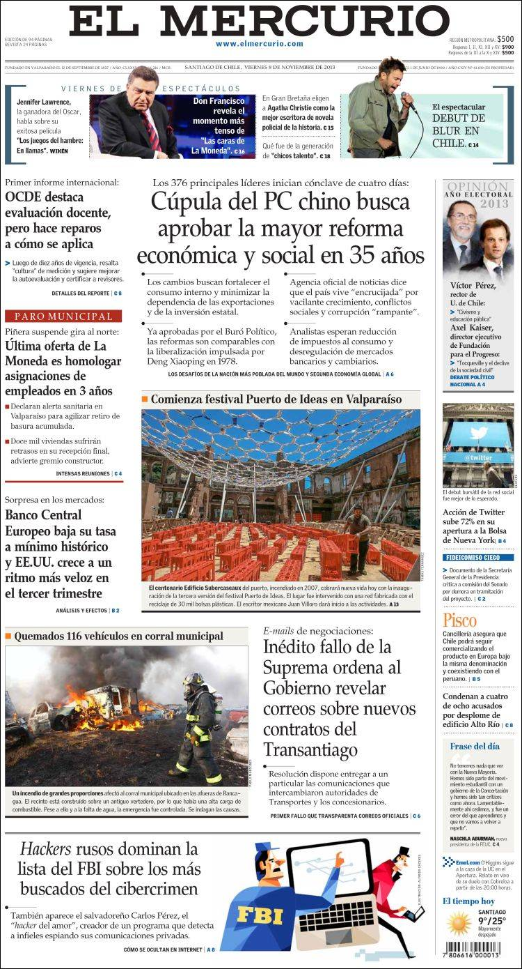 Periódico El Mercurio (Chile)  Periódicos de Chile  Edición