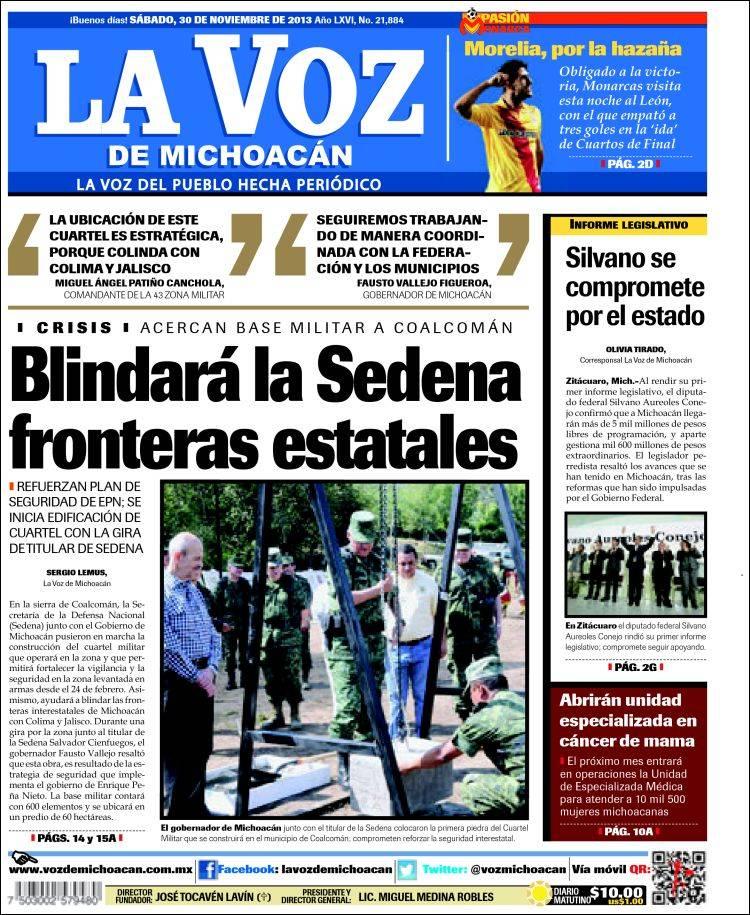 Portada de La Voz de Michoacán (México)