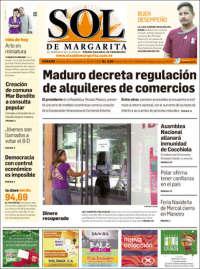 Portada de El Sol de Margarita (Venezuela)