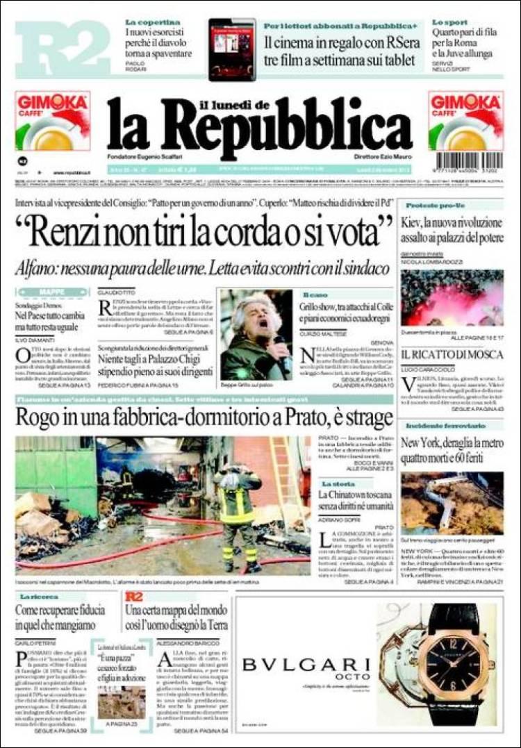 Le Prime Pagine Dei Quotidiani Nazionali E Stranieri Di Lunedi 2 Dicembre 2013 Edicola Di Pinuccio
