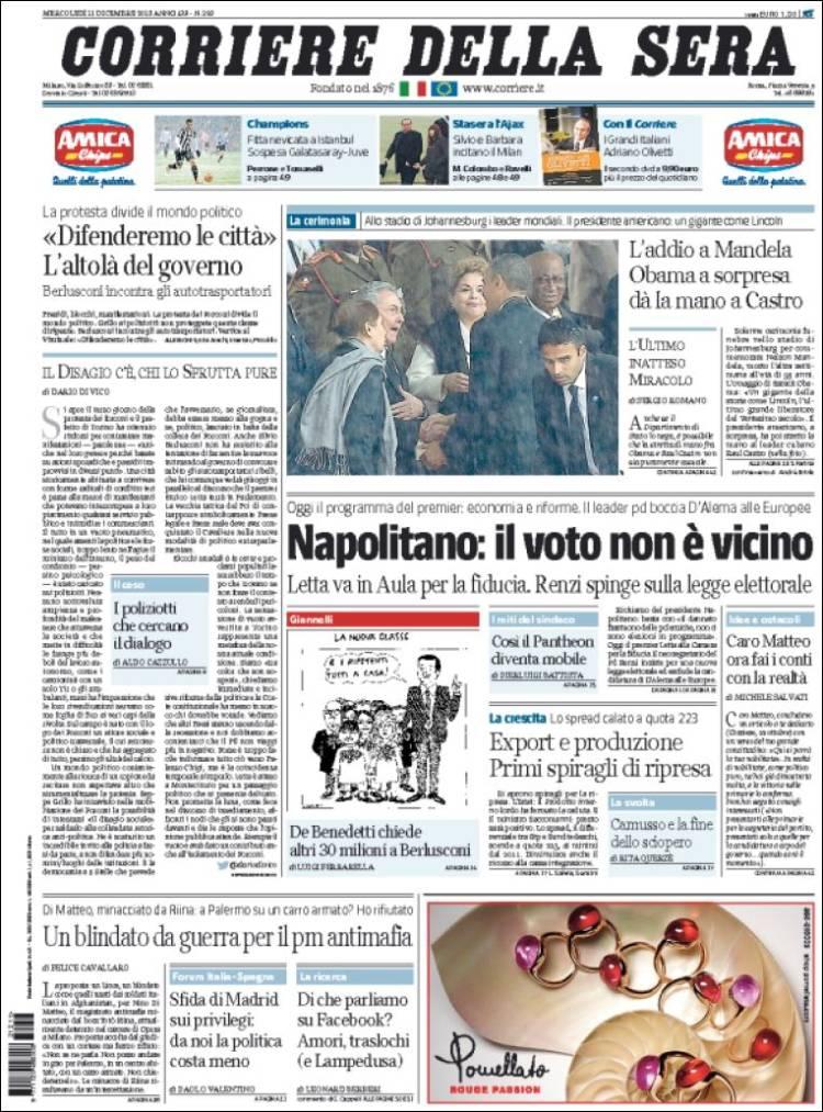 Portada de Corriere della Sera (Italia)
