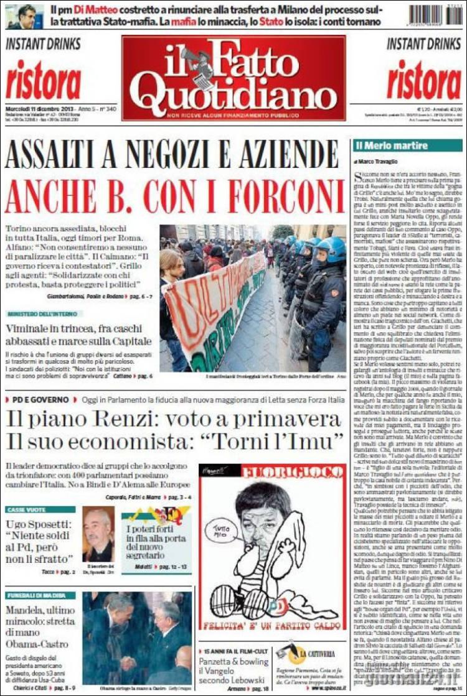 Portada de Il Fatto Quotidiano (Italia)