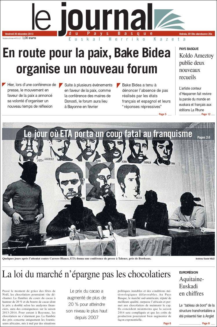 Portada de Le Journal du Pays Basque (Francia)