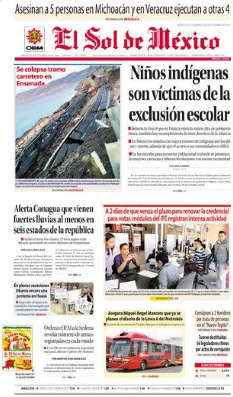 Periódico El Sol De México México Periódicos De México